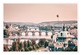 Plakat Balloon over the bridges of Prague
