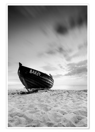 Plakat Lonely Boat - Black/White | Rügen | Germany