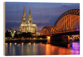 Obraz na drewnie  Cologne Cathedral and Hohenzollern Bridge at night - Oliver Henze