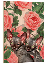 Obraz na drewnie  Sphynx kitten with roses - Mandy Reinmuth