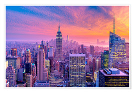 Plakat New York City Colorfull Sunset