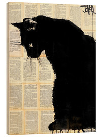 Obraz na drewnie  Black cat - Loui Jover