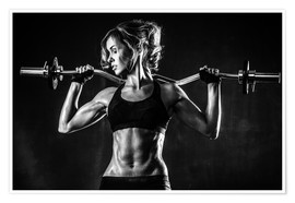Plakat  Sportswoman with a barbell