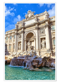 Plakat Trevi Fountain under blue sky