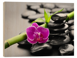 Obraz na drewnie  Basalt stones, bamboo and orchid