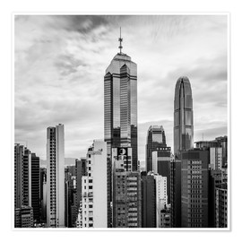 Plakat Houses Sea Hong Kong in black and white