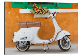 Obraz na aluminium  White scooter in front of a window