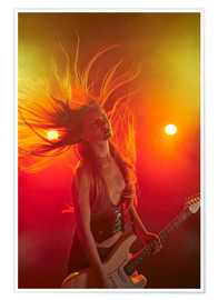 Plakat Rock girl playing the electric guitar