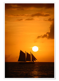 Plakat Sailing ship and sunset, Key West
