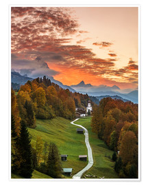 Plakat Bavarian Sunset - Germany
