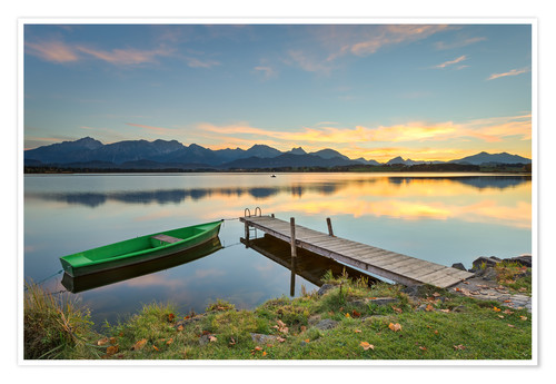 Plakat Sunset at Hopfensee in Allgäu, Bavaria