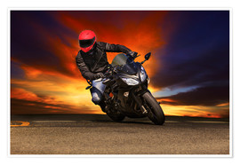 Plakat Motorcyclist in a curve
