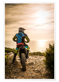 Plakat  Enduro racer on the coast