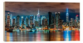 Obraz na drewnie  Midtown Skyline by Night, New York - Sascha Kilmer