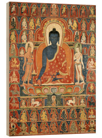 Obraz na drewnie  Thangka with the Medicine Buddha - Tibetan School