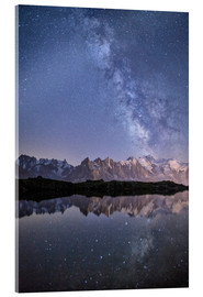Obraz na szkle akrylowym  Milky way at starry night with the Mont Blanc - Roberto Sysa Moiola