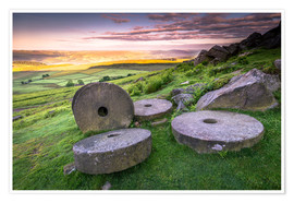 Plakat  Stanage Edge Millstones at sunrise - Andrew Sproule