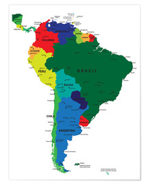 Plakat  Map of South America