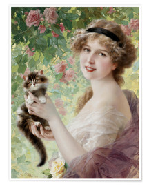 Plakat Young girl with a kitten