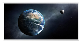 Plakat Earth and moon from outer space