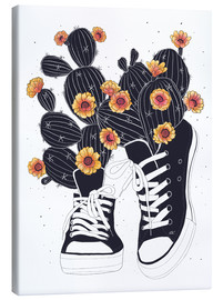 Obraz na płótnie  Sneakers with flowering cactuses - Valeriya Korenkova