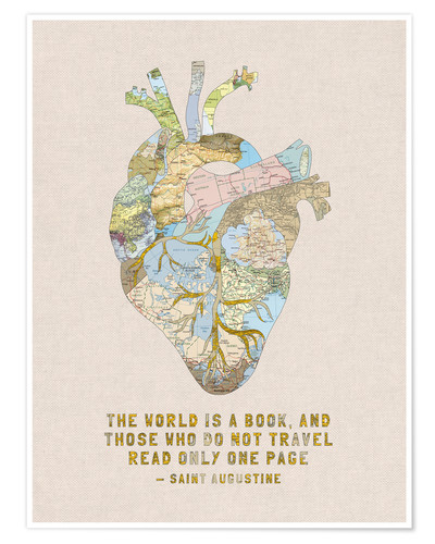 Plakat A Travelers Heart + Quote
