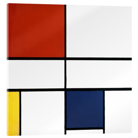 Obraz na szkle akrylowym  Composition c no iii with red yellow and blue - Piet Mondriaan