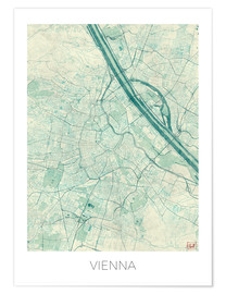 Plakat Map of Vienna, blue