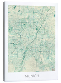 Obraz na płótnie  Map of Munich (blue) - Hubert Roguski