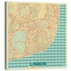 Obraz na płótnie  Lisbon, Portugal Map Retro - Hubert Roguski
