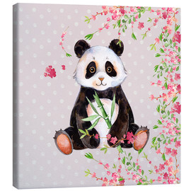 Obraz na płótnie  Little panda bear with bamboo and cherry blossoms - UtArt
