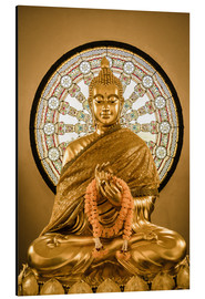 Obraz na aluminium  Buddha statue and Wheel of life background