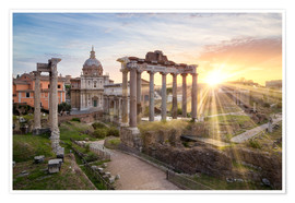 Plakat Sunset at the Roman Forum in Rome, Italy