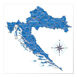 Plakat  Map of Croatia