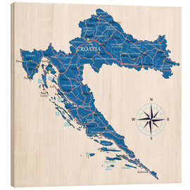 Obraz na drewnie  Map of Croatia