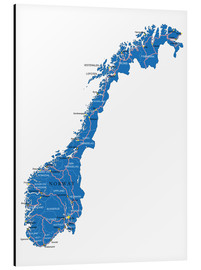 Obraz na aluminium  Map Norway