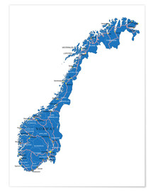 Plakat  Map Norway