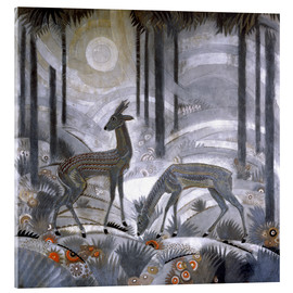 Obraz na szkle akrylowym  Two deer in the woods - Jean Dunand