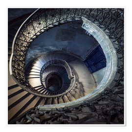 Plakat Old beautiful spiral staircase