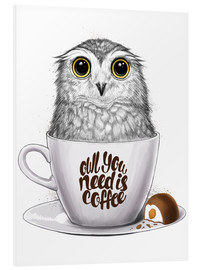 Obraz na PCV  Owl you need is coffee - Nikita Korenkov