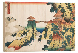 Obraz na drewnie  Bridge at Mount Gyodo near Ashikaga - Katsushika Hokusai
