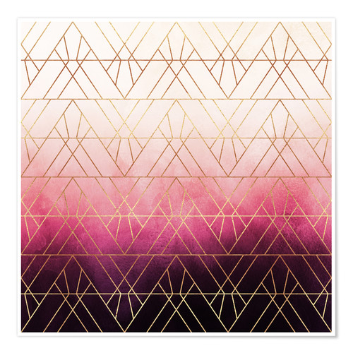 Plakat Pink Ombre Triangles