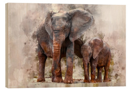 Obraz na drewnie  Elephants - Peter Roder