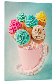Obraz na szkle akrylowym  Colorful cupcake pops on blue background - Elena Schweitzer