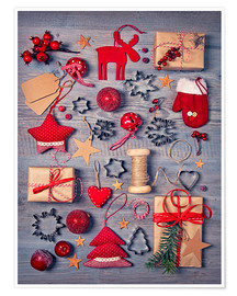 Plakat  Christmas deco auf dem wooden background - Elena Schweitzer