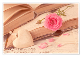 Plakat  Rose and the old books - Elena Schweitzer
