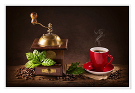 Plakat  Coffee mill with a cup of coffee - Elena Schweitzer