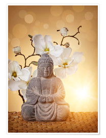 Plakat Buddha statue and orchid
