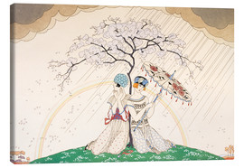 Obraz na płótnie  Two women sheltering from the rain, under a tree - Georges Barbier