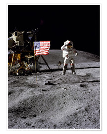 Plakat  Astronaut of the 10th manned mission Apollo 16 on the moon